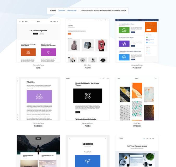 Templates / Seitenblibliothek von Generateress