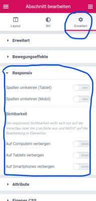 Screenshot: Elemente auf bestimmten Endgeräten ein- oder ausblenden