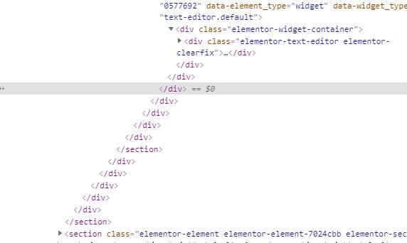 div-Styles, DOM-Größe - erzeugt von Elementor