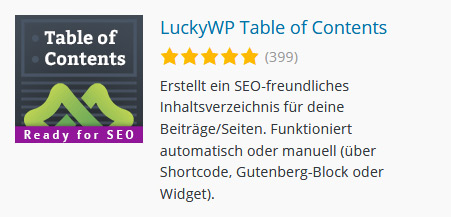 LuckyWP Table Of Contents - TOC Plugin für WordPress