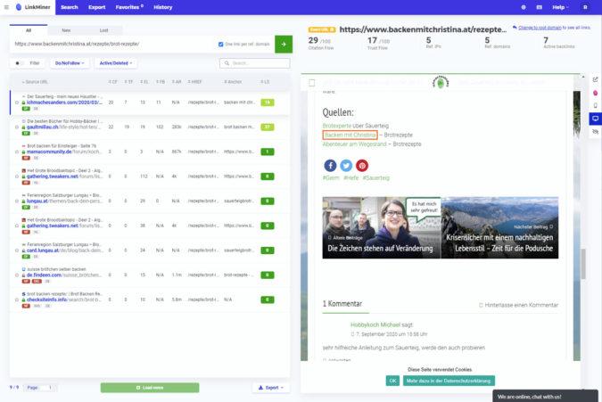 LinkMiner Interface - Backlinks finden